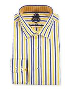 Striped Long-sleeve Dress Shirt, Yellow/navy