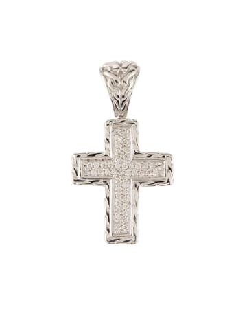 Small Square Diamond Pave Cross Pendant
