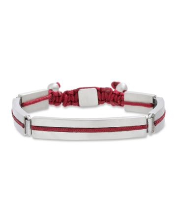 Men's Five-link Stainless Steel Cord Bracelet, Red