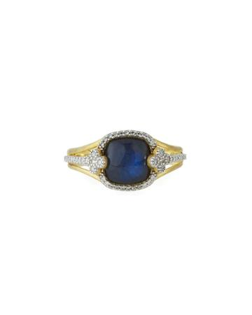 18k Provence Labradorite/onyx Cushion & Diamond Ring,