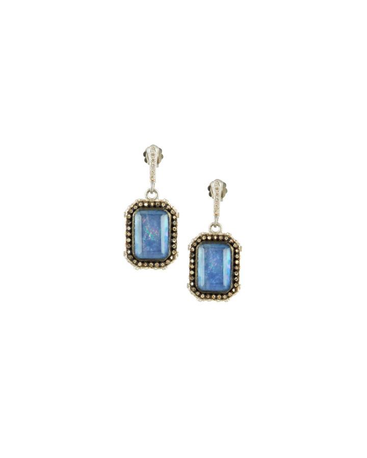 New World Blue Sapphire Triplet Earrings With Diamonds
