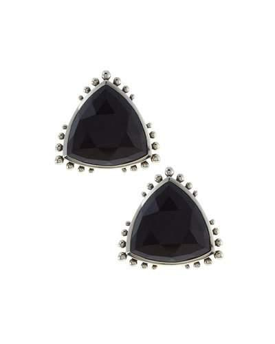 Triangle Agate Button Earrings