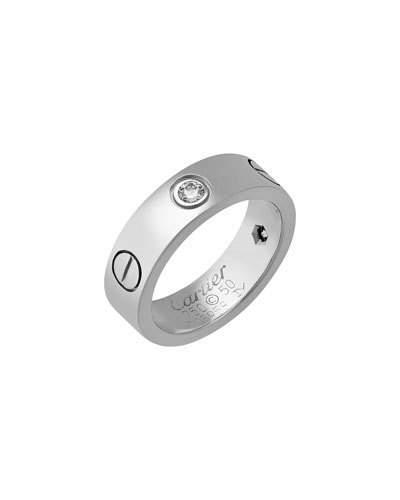 18k White Gold 3-diamond Love Ring,
