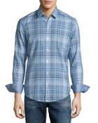 Plaid Long-sleeve Sport Shirt, Turquoise
