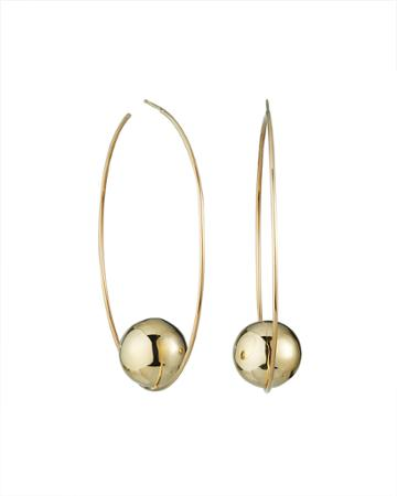 14k Floating Lumen Bead Hoop Earrings,