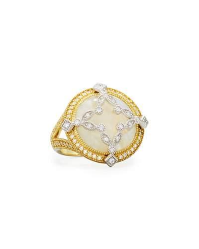 18k Round Moonstone & Diamond Cocktail Ring
