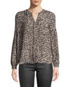 Gathered-sleeve Leopard Print Blouse