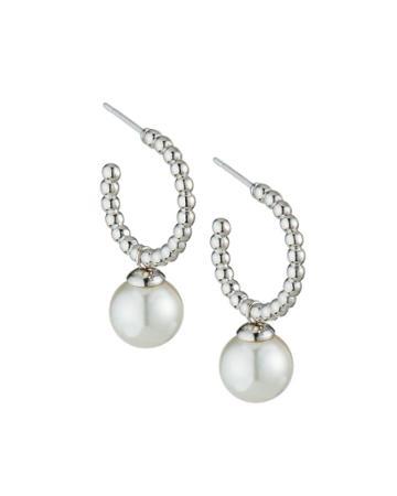 Blake 8mm Pearl-drop Hoop Earrings