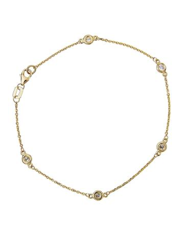 Estate 14k Yellow Gold Diamonds By-the-yard Bracelet
