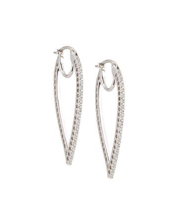 14k Diamond Leaf Dangling Earrings,