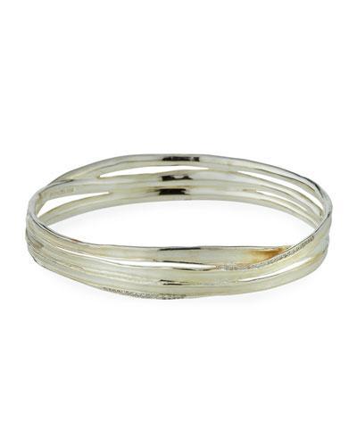 Sterling Silver Venezia Link Crisscross Bangle With Diamonds
