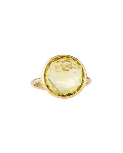 18k Lollipop Round Bezel-set Citrine Ring