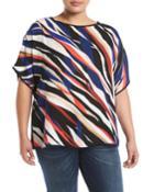 Dolman-sleeve Zebra-print Blouse,