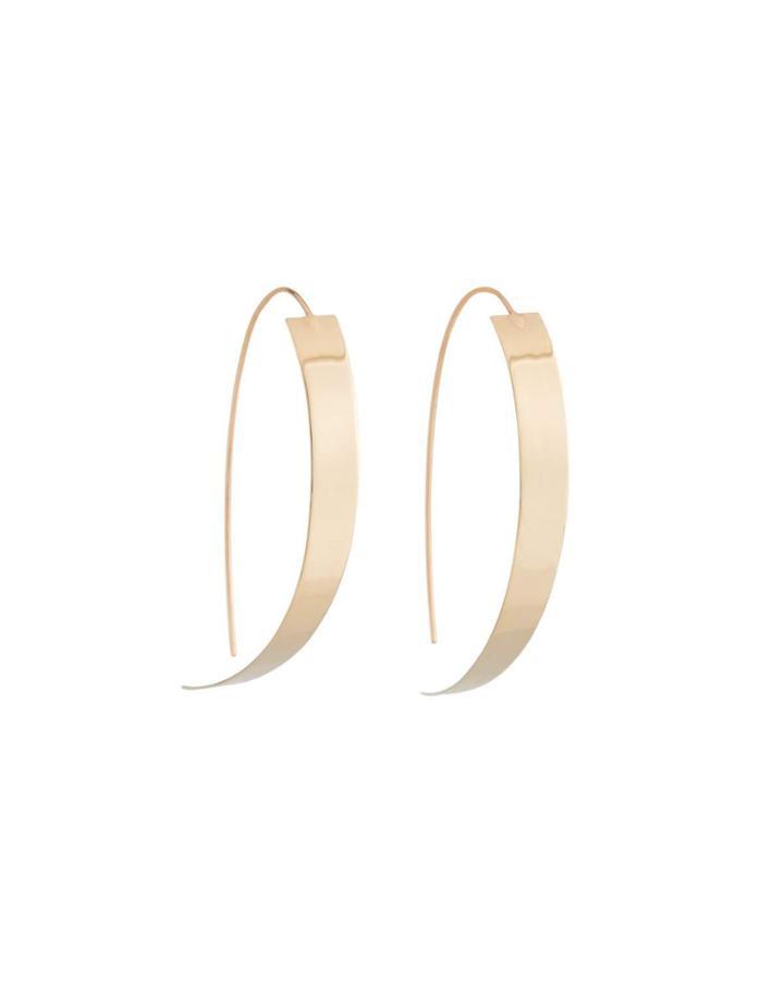 Oval Hoop Earrings, Pink Gold