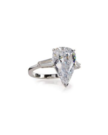 Pear-cut Crystal Ring W/ Tapered Baguettes,