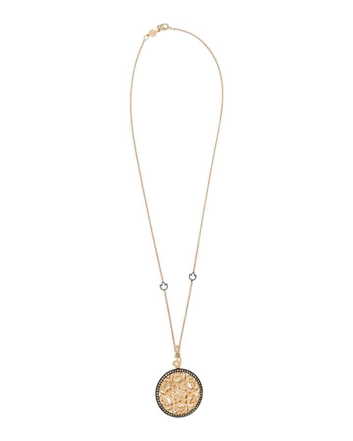 18k Rose Gold Diamond-trim Pendant Necklace