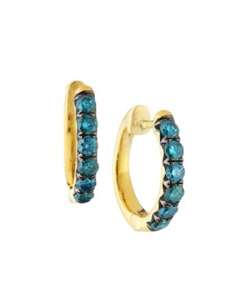18k Jude Diamond Pavé Hoop Earrings, Aqua