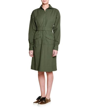 Long-sleeve Belted Shirtdress, Army