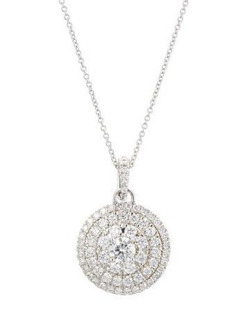 18k Diamond Halo Pendant Necklace,