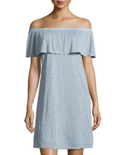 Off-the-shoulder Striped Dress,