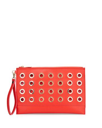 Neiman Marcus Grommet Large Faux-leather Pouch, Orange-red