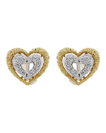 Estate 18k Tricolor Diamond Heart Earrings