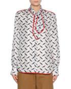 Printed Silk Scarf-neck