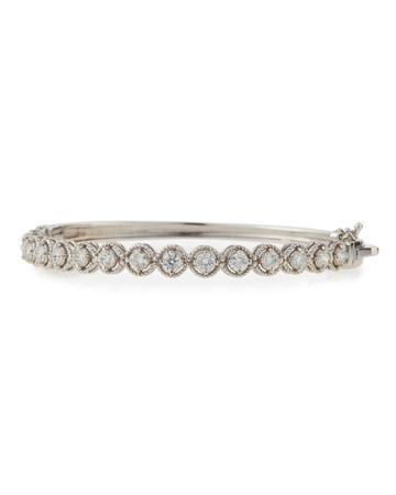Neiman Marcus Diamonds 14k White Gold Diamond Fantasy Illusion Bangle Bracelet, Women's