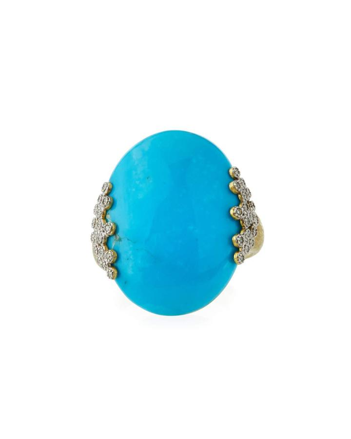 18k Provence Turquoise Oval Ring,