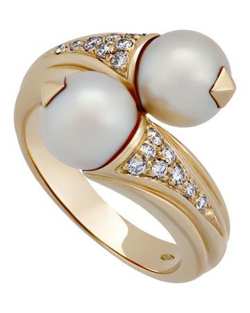 Estate 18k Pearl & Diamond Crossover Ring,