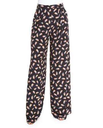 Feather-print Wide-leg Pants, Black