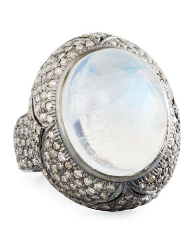 Round Moonstone & Diamond Cocktail Ring,