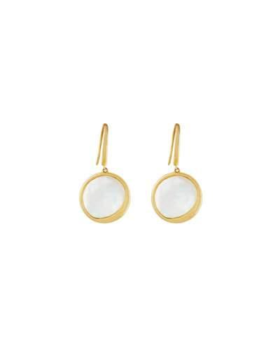 14k Yellow Gold Satin Mother-of-pearl Small Disc Drop Earrings