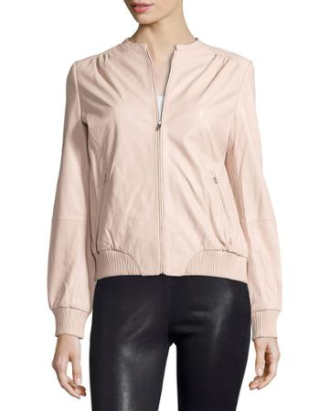 Zip-front Leather Bomber Jacket, Petal