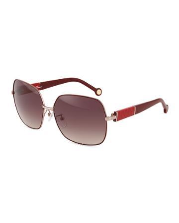 Carolina Herrera Metal Oversized Square Sunglasses, Pink