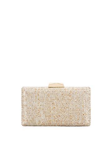 Woven Raffia Box Clutch Bag