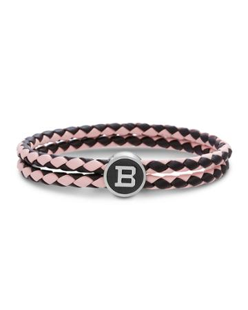 Men's Two-row Braided Leather Logo Plate Bracelet, Pink/wine
