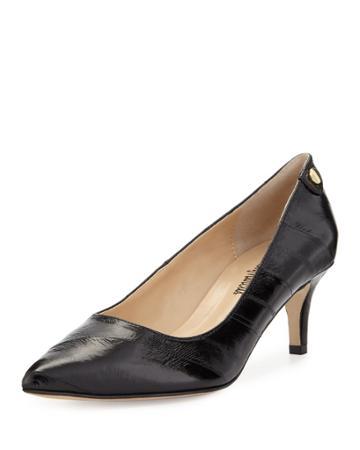Neiman Marcus Stroll Pointed-toe Eelskin Pump, Black, Women's,