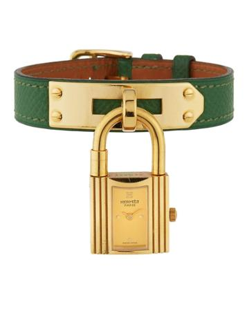 Estate Kelly Watch W/ Leather, Gold/green