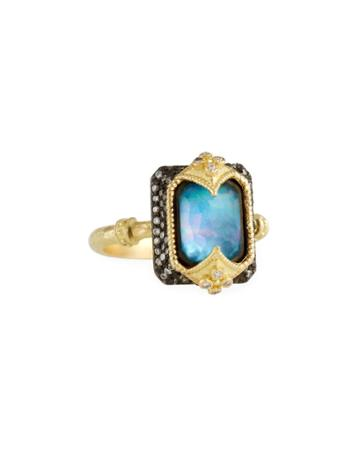 18k Emerald-cut Triplet & Diamond Ring,