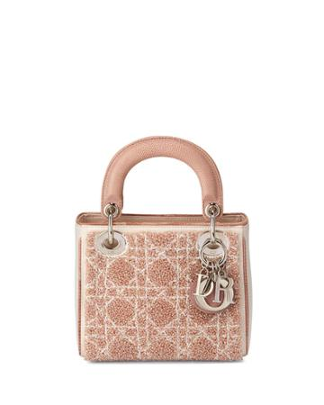 Lady Beaded Leather Mini Tote, Pink