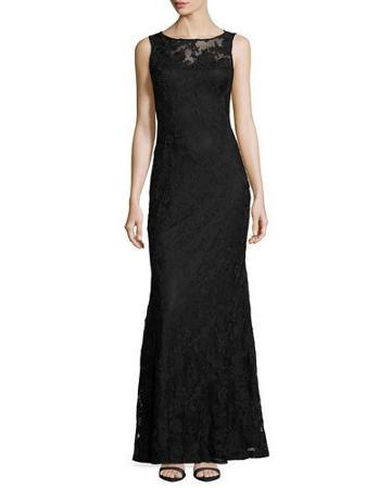 Sleeveless Lace Sheath Gown, Black