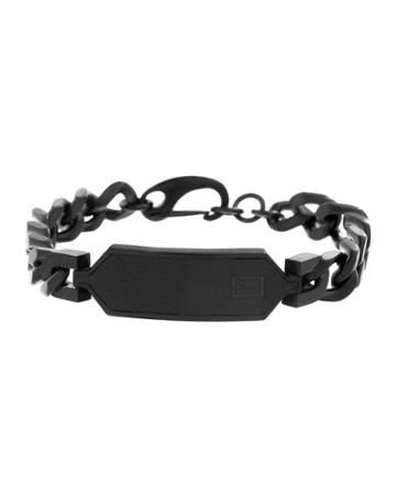 Men's Stainless Steel Chain Id Plate Bracelet, Black