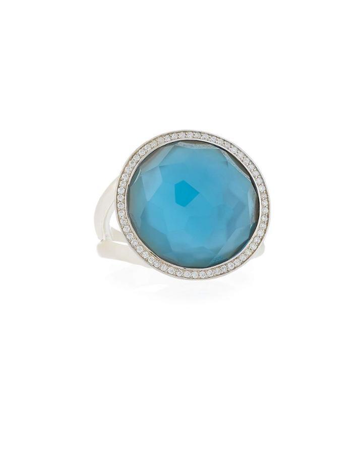 Lollipop Ring In Mother-of-pearl Doublet W/ Diamonds,