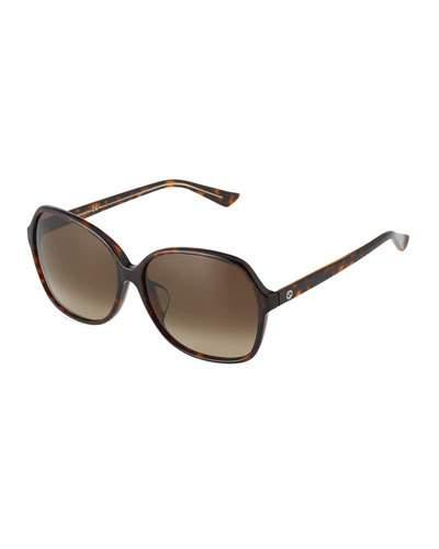 Havana Plastic Rectangle Sunglasses, Brown