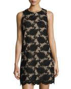 Sleeveless Floral-embroidered Shift Dress, Rich Black