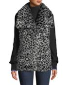 Draped Leopard Faux-fur Vest