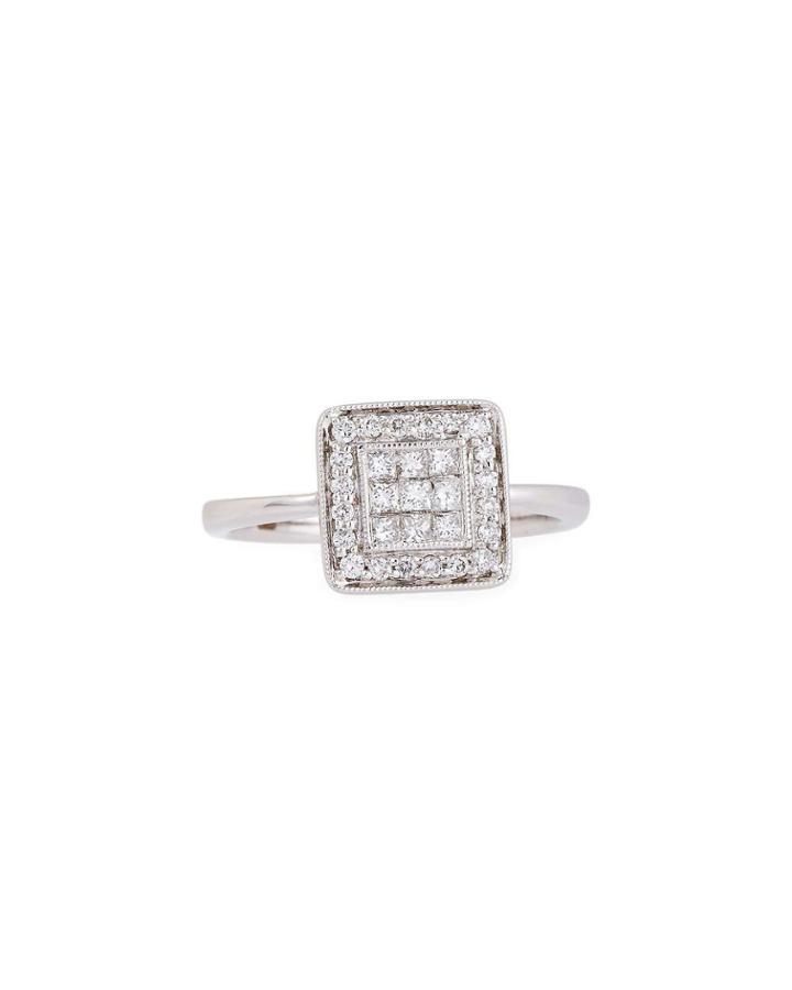 18k White Gold Square Diamond Pave Ring,