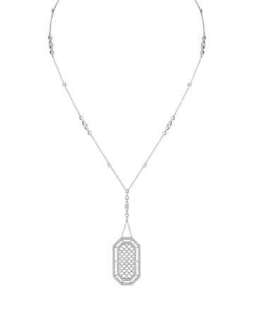 Estate Platinum Diamond Fence Necklace