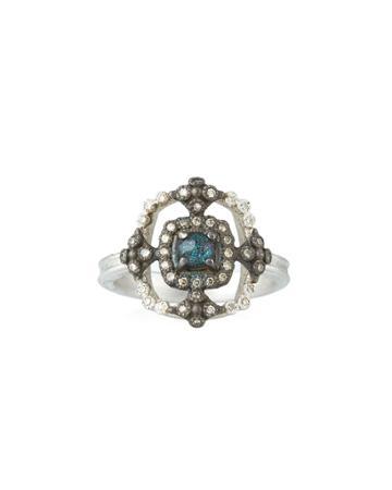 New World Crivelli Square Ring W/ Opal/quartz